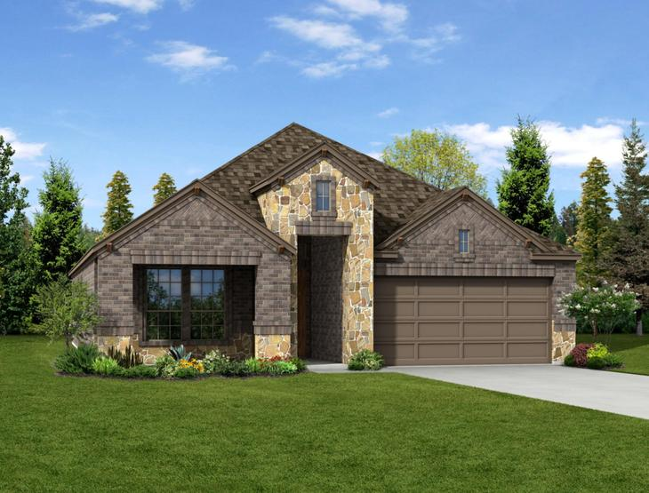 New home rendering of Oliver floor plan exterior elevation E by Dunhill Homes:Oliver - Exterior Elevation E