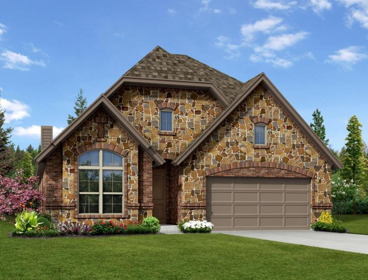 New Home Front Exterior Stone with Metal Garage, Elevation D of Addison II Floor Plan by Dunhill ...:Addison II - Exterior Elevation D