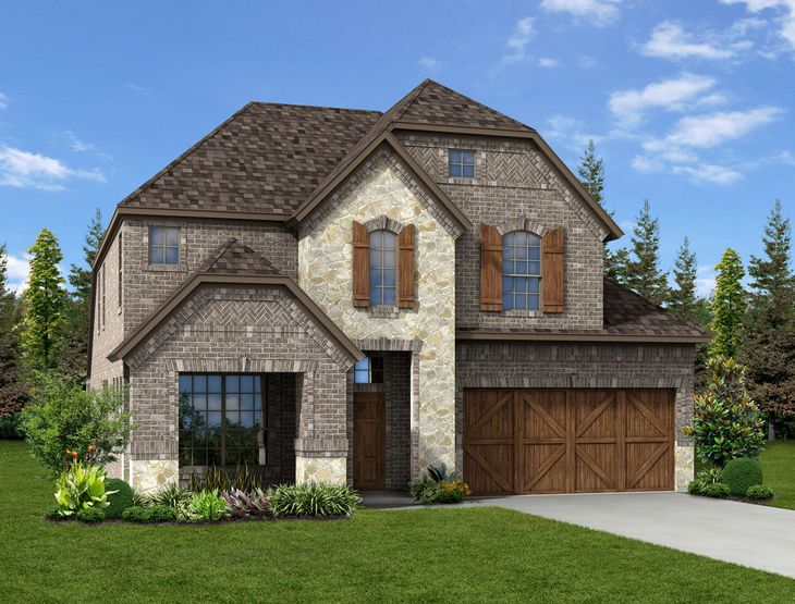 New Home Front Exterior Brick and Stone with Cedar Garage, Elevation G of Grayson Floor Plan by D...:Grayson - Exterior Elevation G
