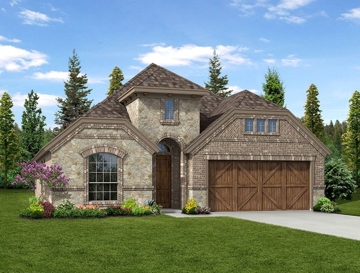 New Home Front Exterior Brick and Stone with Cedar Garage, Elevation B of Kensington Floor Plan B...:Kensington - Exterior Elevation B