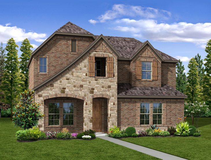 New Home Front Exterior Stone with Brick with Rear Entry Garage, Elevation B of Dakota Floor Plan...:Dakota - Exterior Elevation B