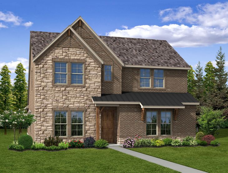 New Home Front Exterior Stone and Brick with Rear Entry Garage, Elevation C of Everly Floor Plan ...:Everly - Exterior Elevation C