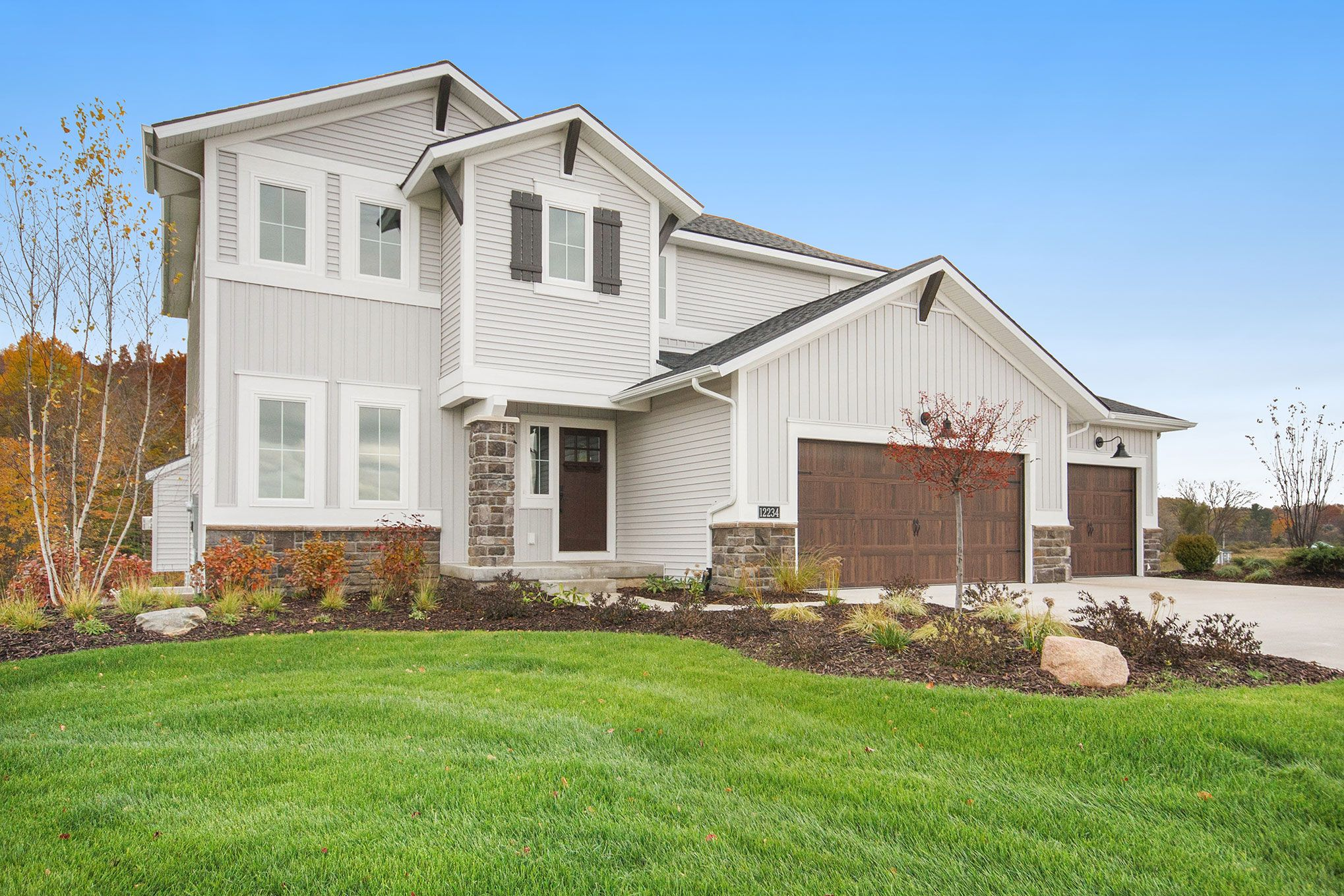Exterior featured in The Newport By Eastbrook Homes Inc. in Grand Rapids, MI