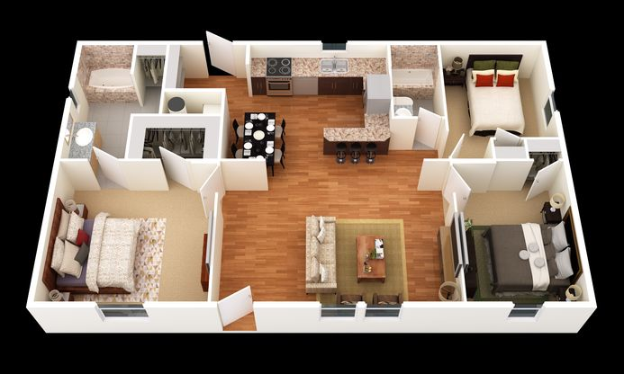 The Elmendorf:3D Floor Plan