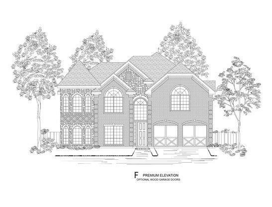 Elevation F:Premium Elevation - Shown with optional wood garage doors.