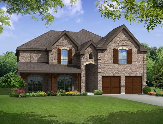 Elevation E:Premium Elevation - Shown with optional wood garage doors.