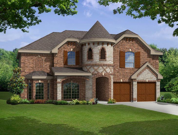 Elevation K:Premium Elevation - Shown with optional wood garage doors.