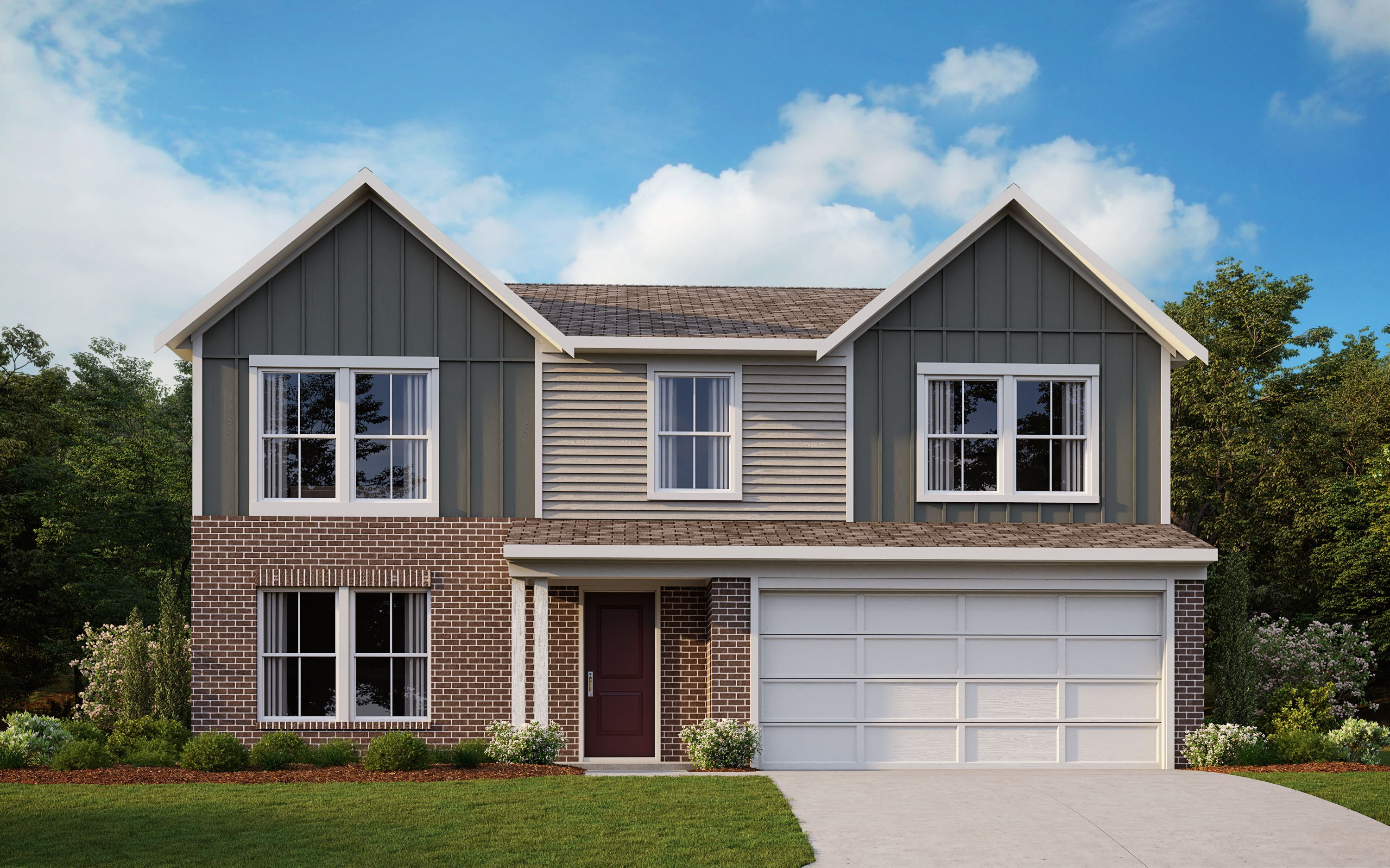Exterior featured in the Yosemite By Fischer Homes  in Dayton-Springfield, OH