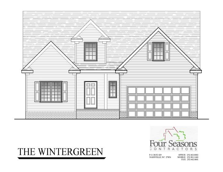 The Wintergreen :Front Elevation