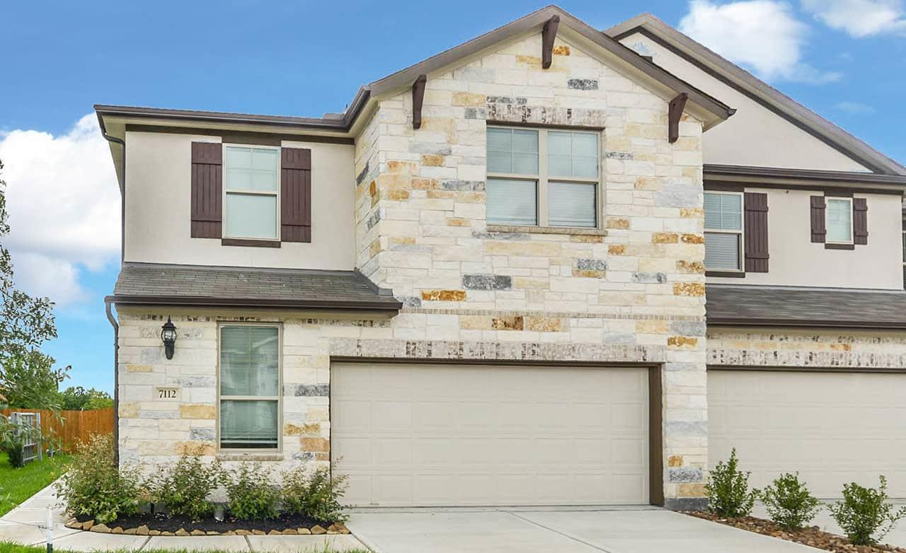 Exterior featured in the Townhome Series - Yosemite A By Gehan Homes in Houston, TX