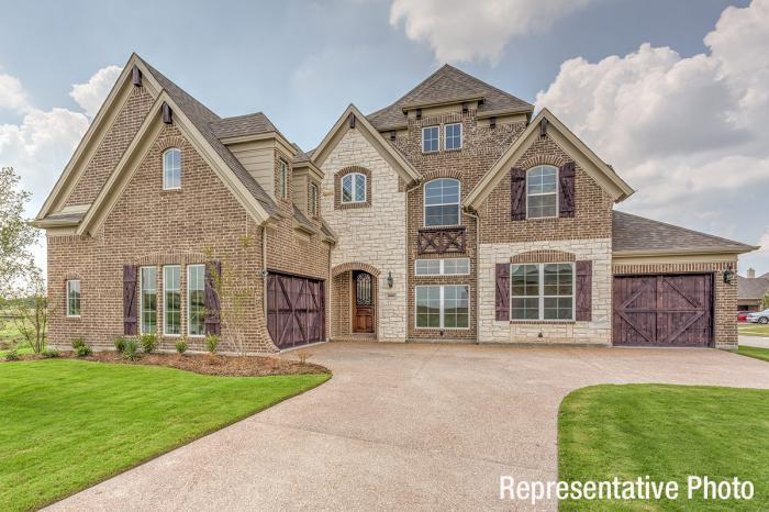 Exterior featured in the Hartford - 3rd Car Garage By Grand Homes in Fort Worth, TX