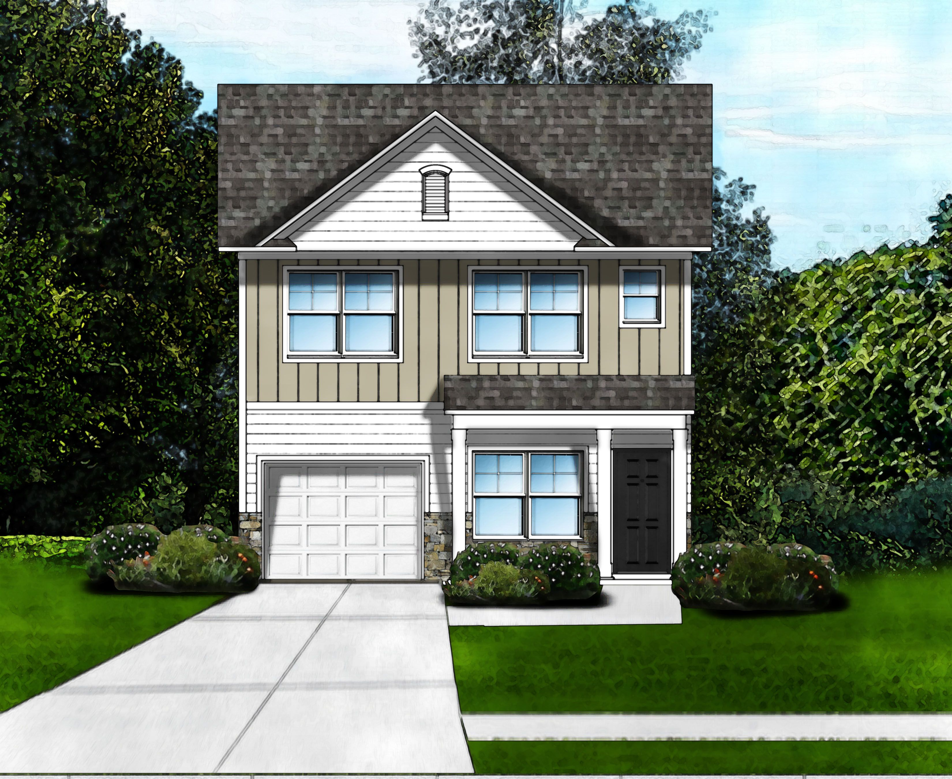 Exterior featured in the Hillcrest A6 By Great Southern Homes in Greenville-Spartanburg, SC