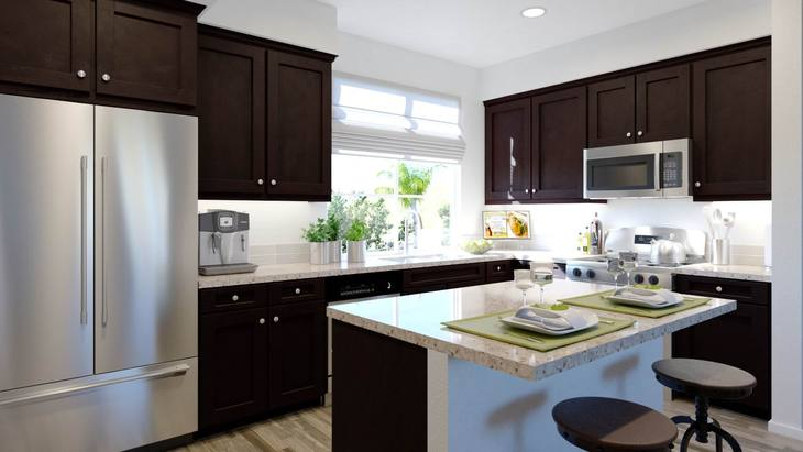 Plan Two Kitchen :Complete with an expansive island for countertop dining