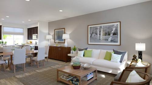 Greatroom-and-Dining-in-Plan Two - B-at-Boardwalk Townhomes-in-Corona