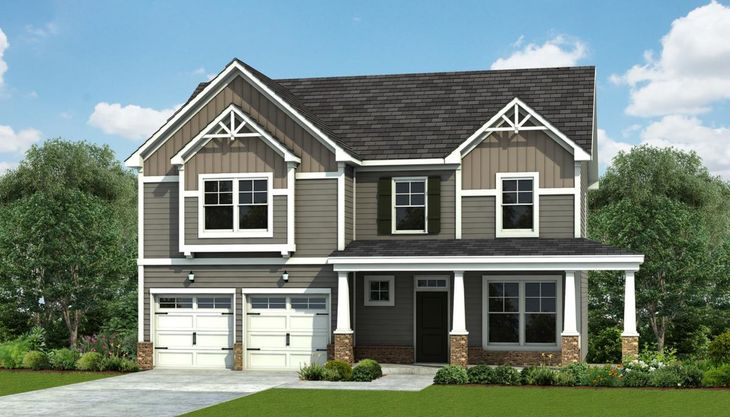 Exterior:Topsail - Elevation B – 2 Garage Door Option Optional Wrap Porch