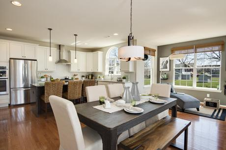 Greatroom-and-Dining-in-The Roosevelt-Front Entry-at-The Arbors at Hilltown-in-Dallas