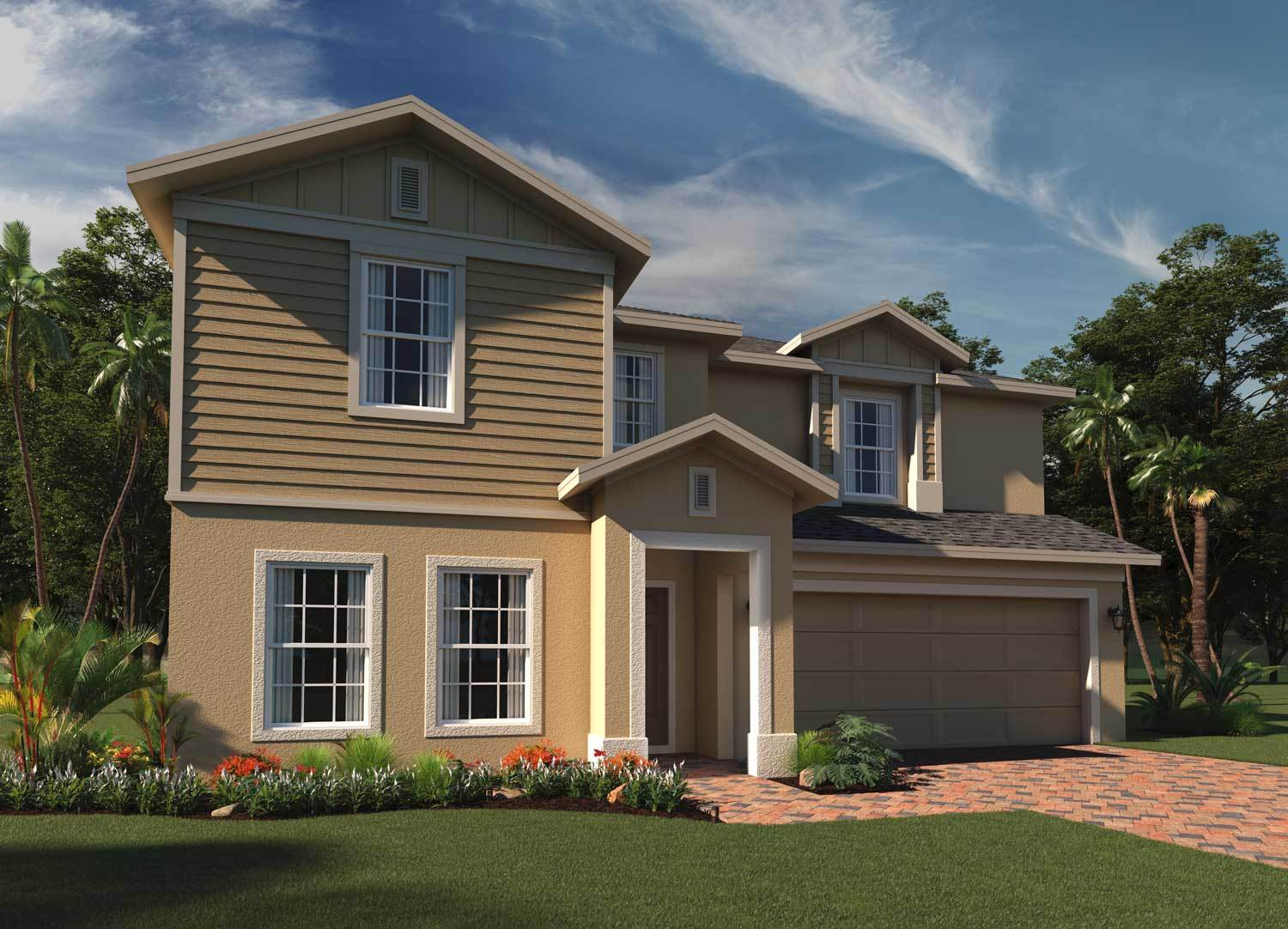 Exterior featured in the Newcastle By Hanover Family Builders in Lakeland-Winter Haven, FL
