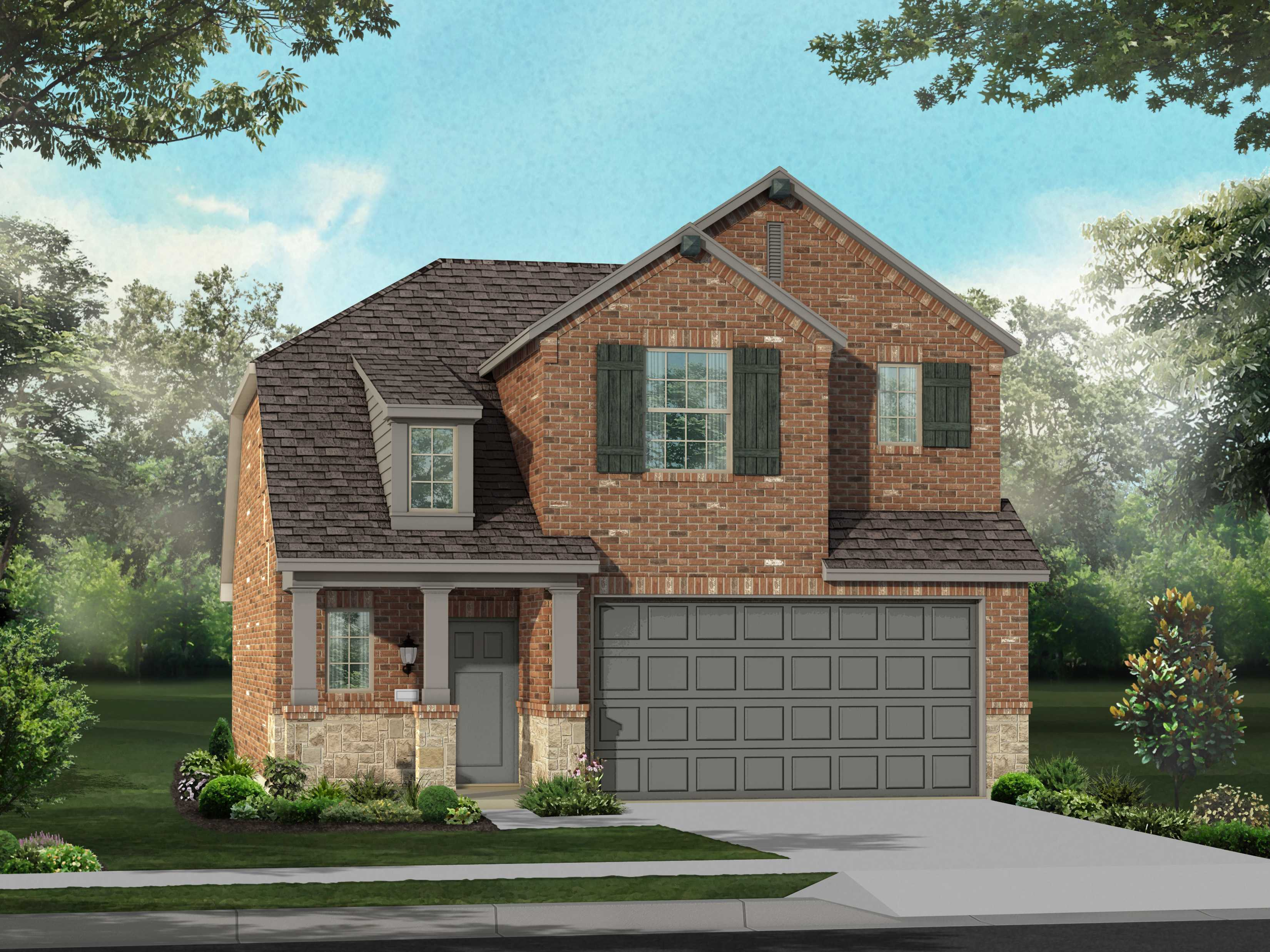 Exterior featured in the Plan Lyndhurst By Highland Homes in Houston, TX