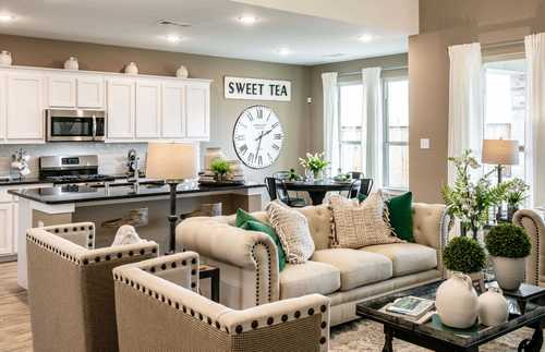 Greatroom-and-Dining-in-Plan Richmond-at-Highlands at Mayfield Ranch: 60ft. lots-in-Round Rock