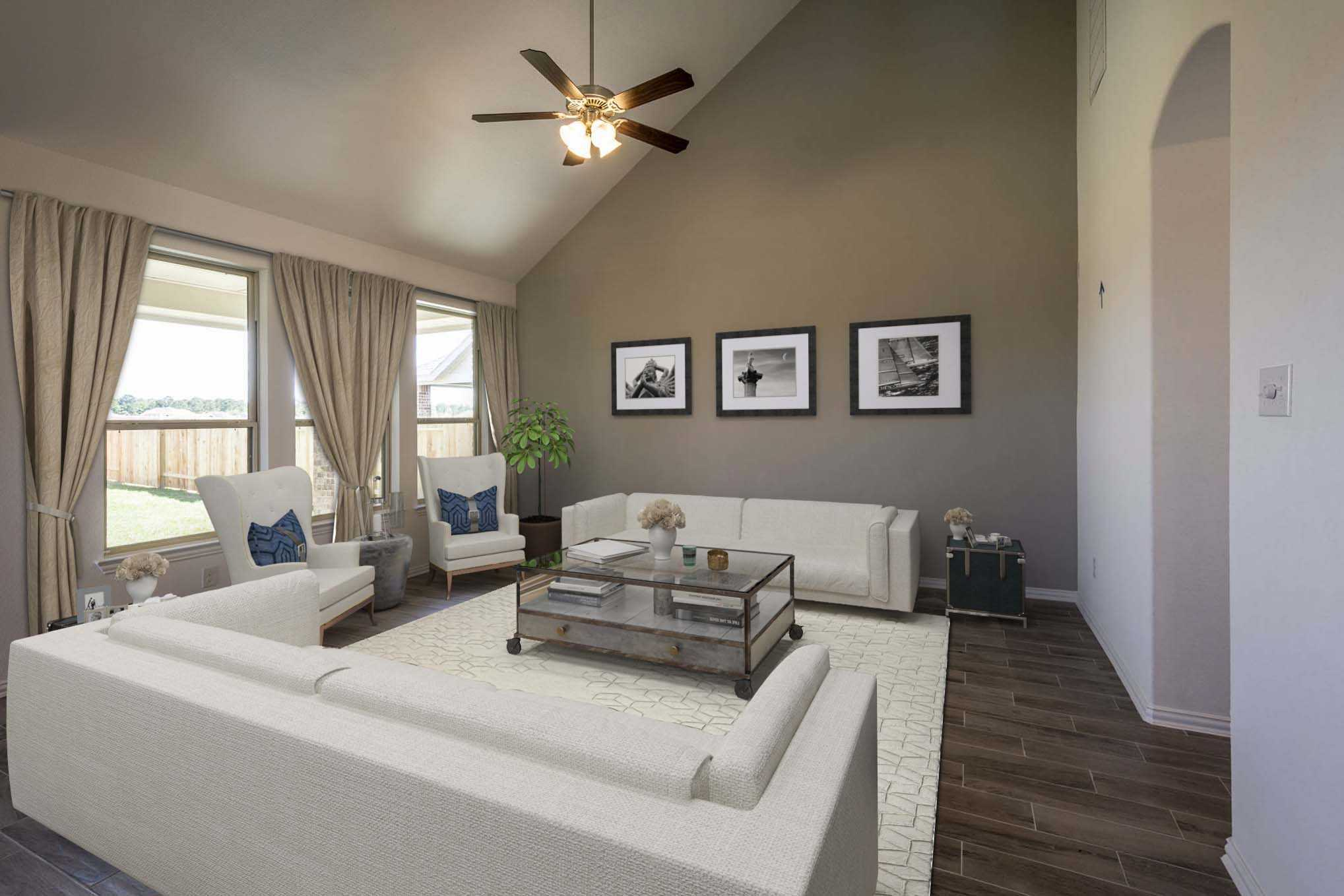 Living Area featured in the Plan Lyndhurst By Highland Homes in Dallas, TX