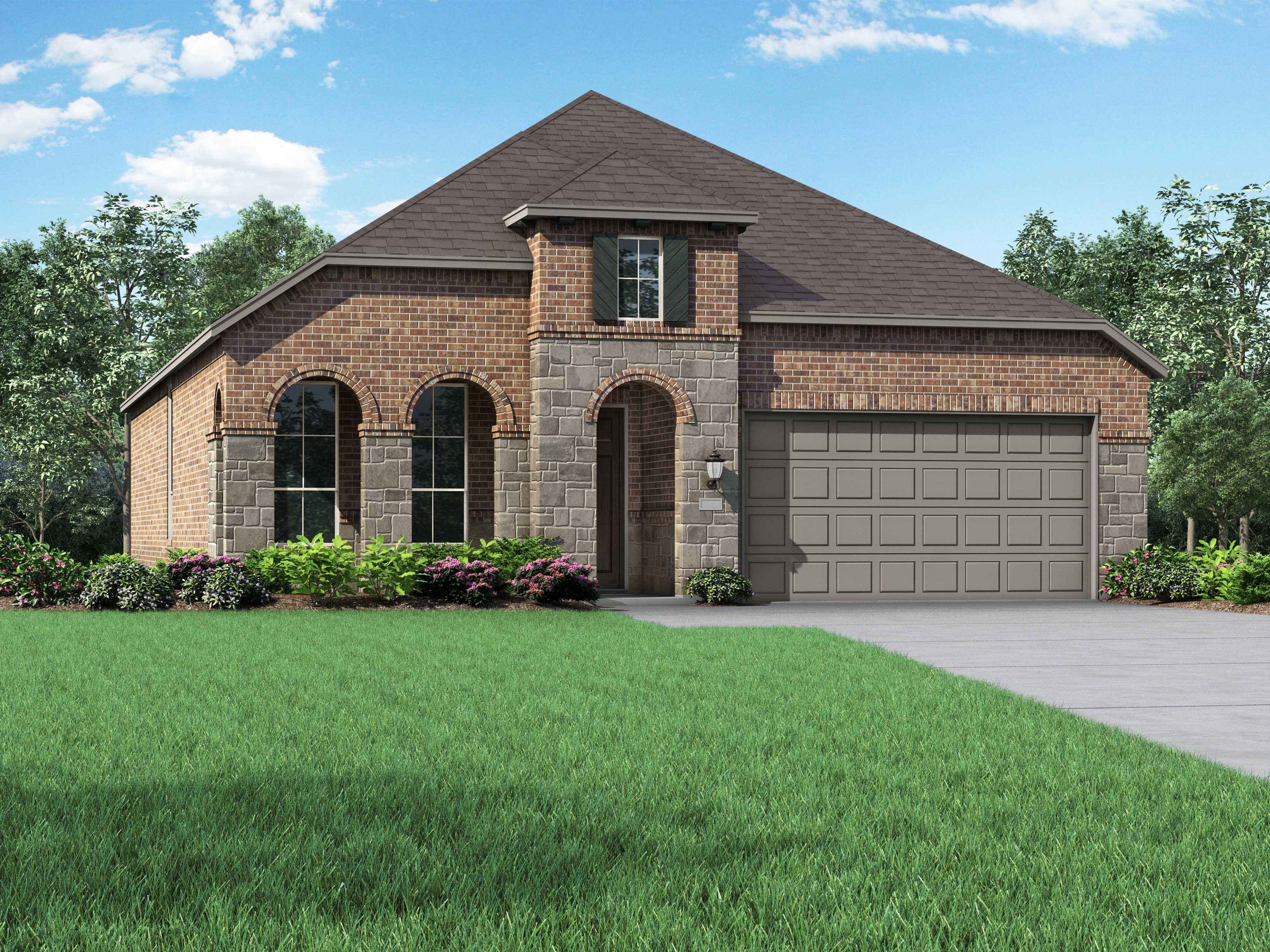 Exterior featured in the Plan Amberley By Highland Homes in San Antonio, TX