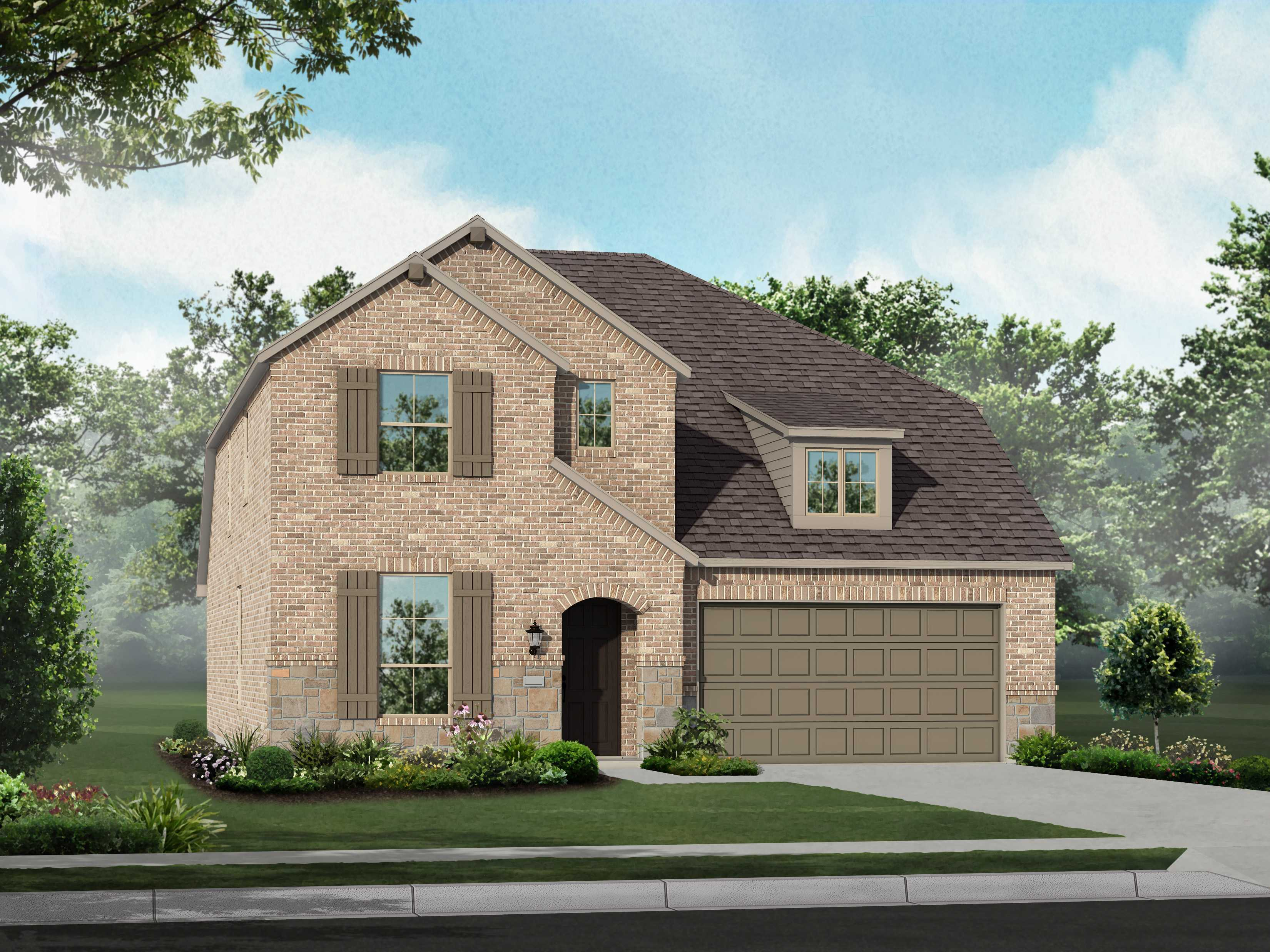 Exterior featured in the Plan Richmond By Highland Homes in Dallas, TX