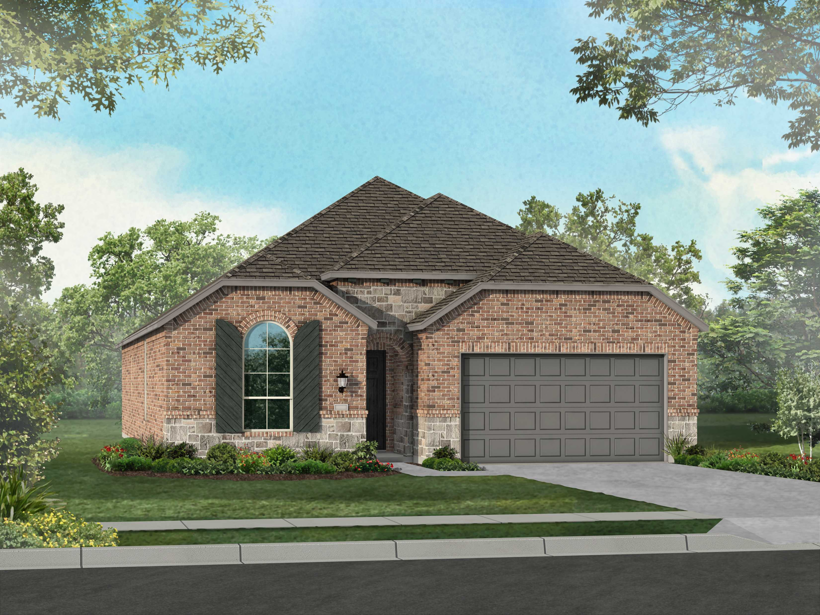 Exterior featured in the Plan Dorchester By Highland Homes in Houston, TX