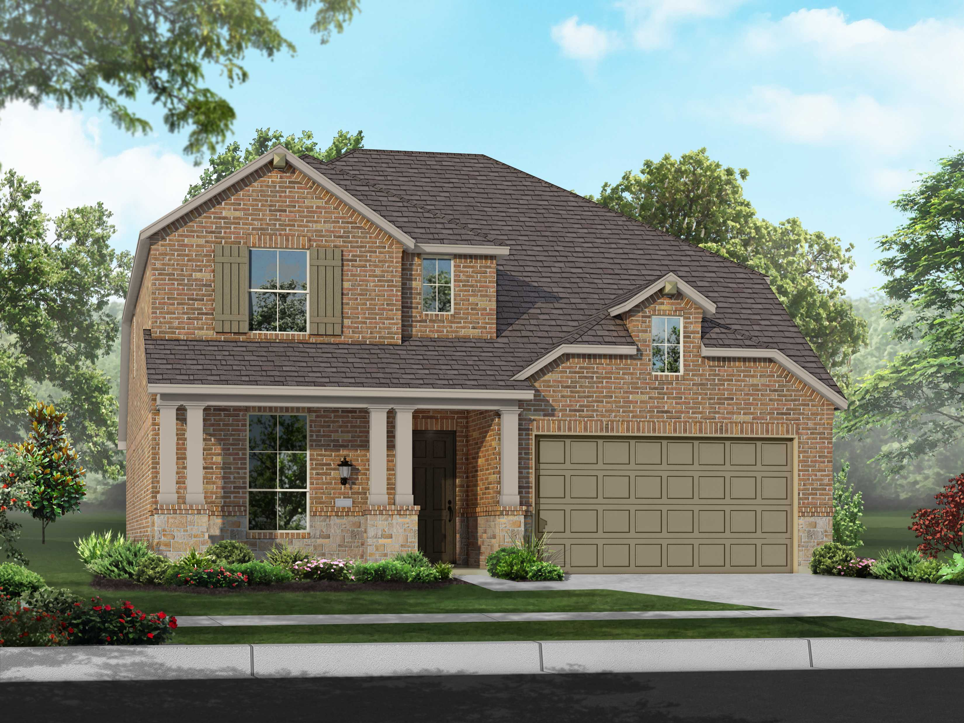 Exterior featured in the Plan Westbury By Highland Homes in Houston, TX