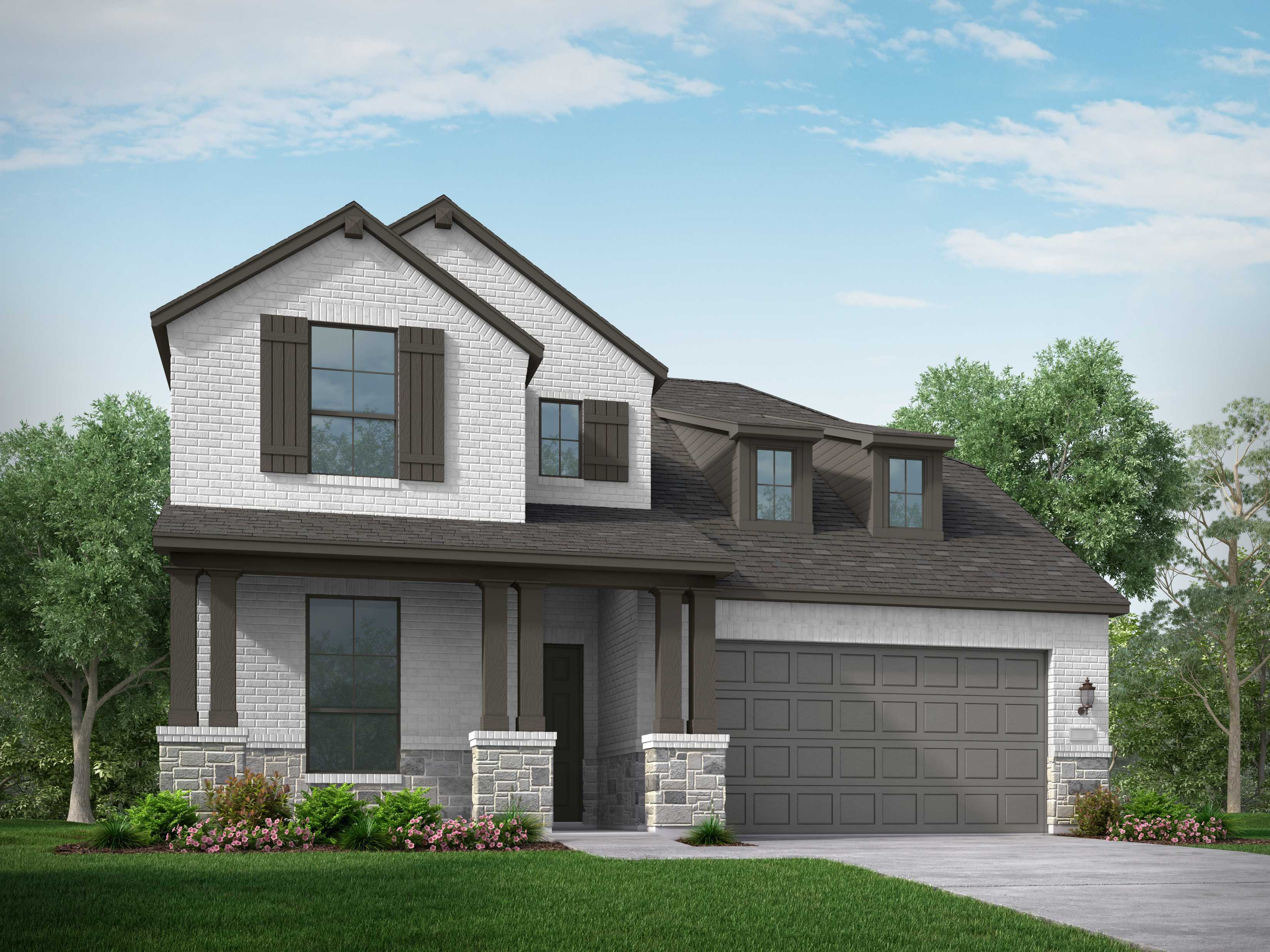 Exterior featured in the Plan Redford By Highland Homes in Houston, TX