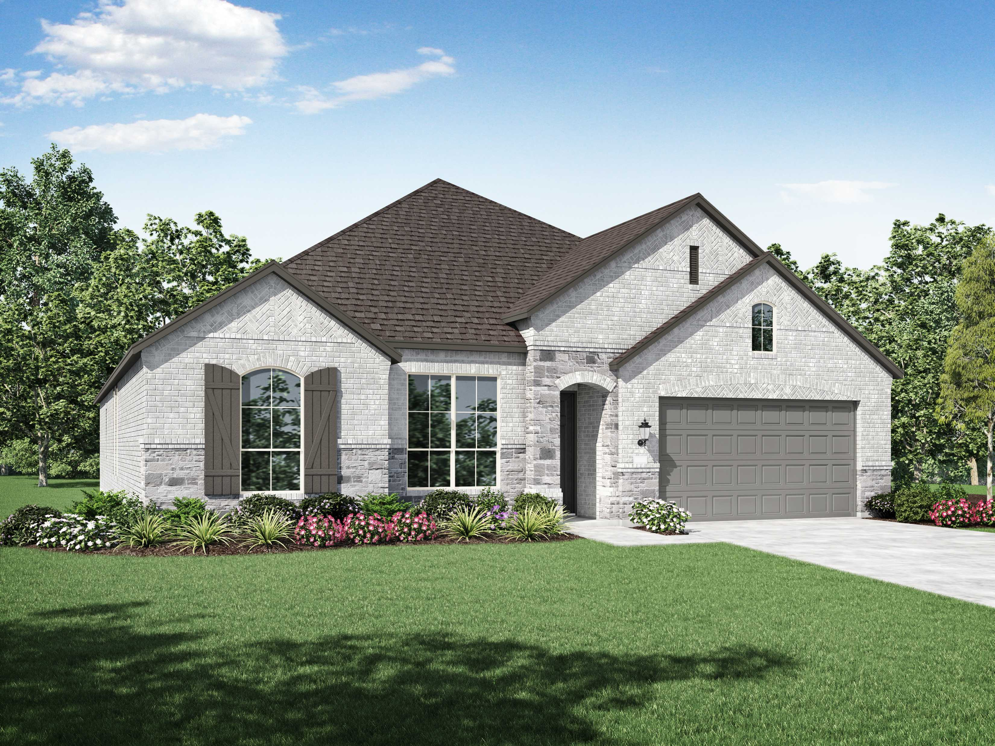 Exterior featured in the Plan Canterbury By Highland Homes in Dallas, TX