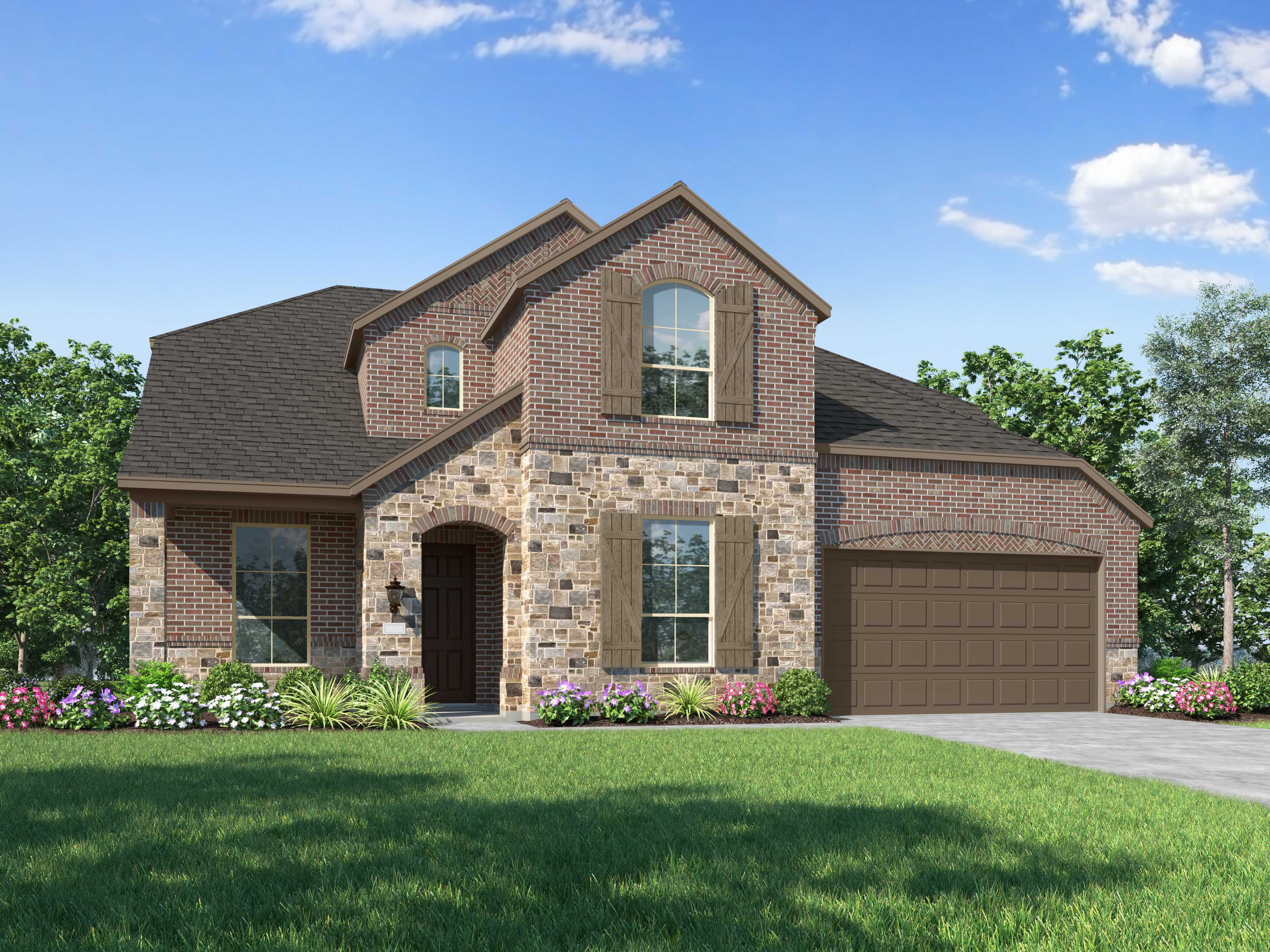 Exterior featured in the Plan Blenheim By Highland Homes in Dallas, TX