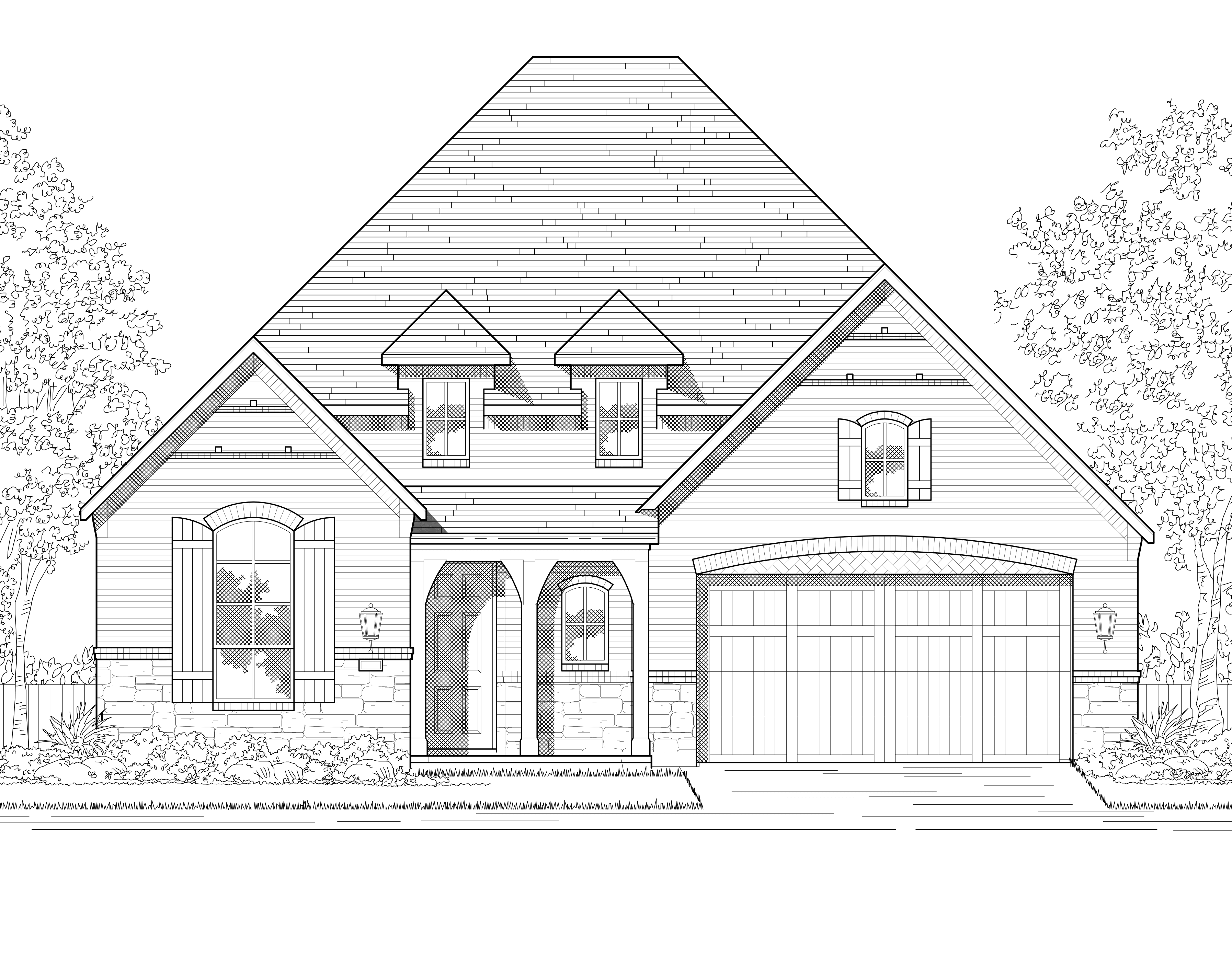 Exterior featured in the Plan Oxford By Highland Homes in Houston, TX
