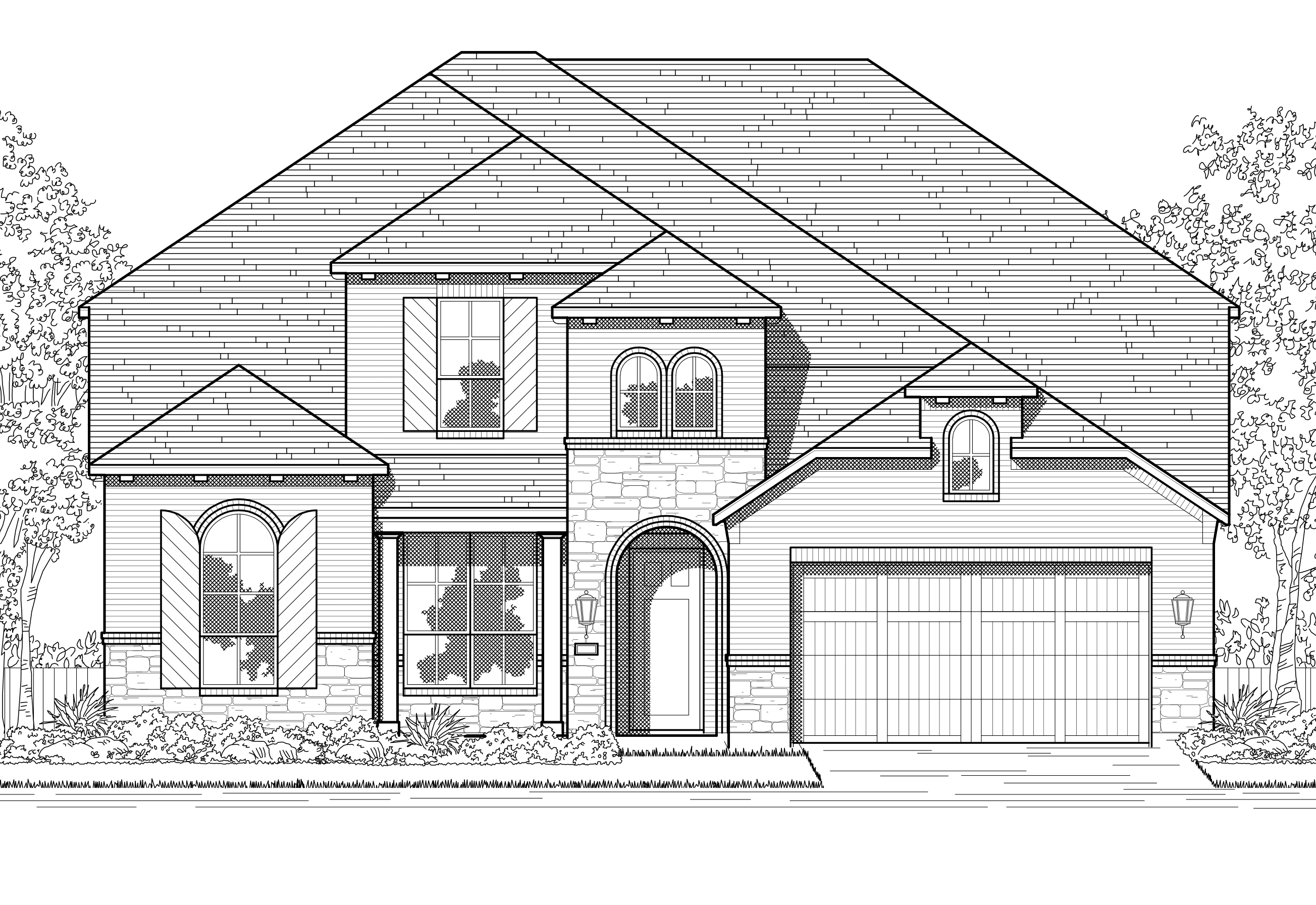 Exterior featured in the Plan Sheffield By Highland Homes in Houston, TX