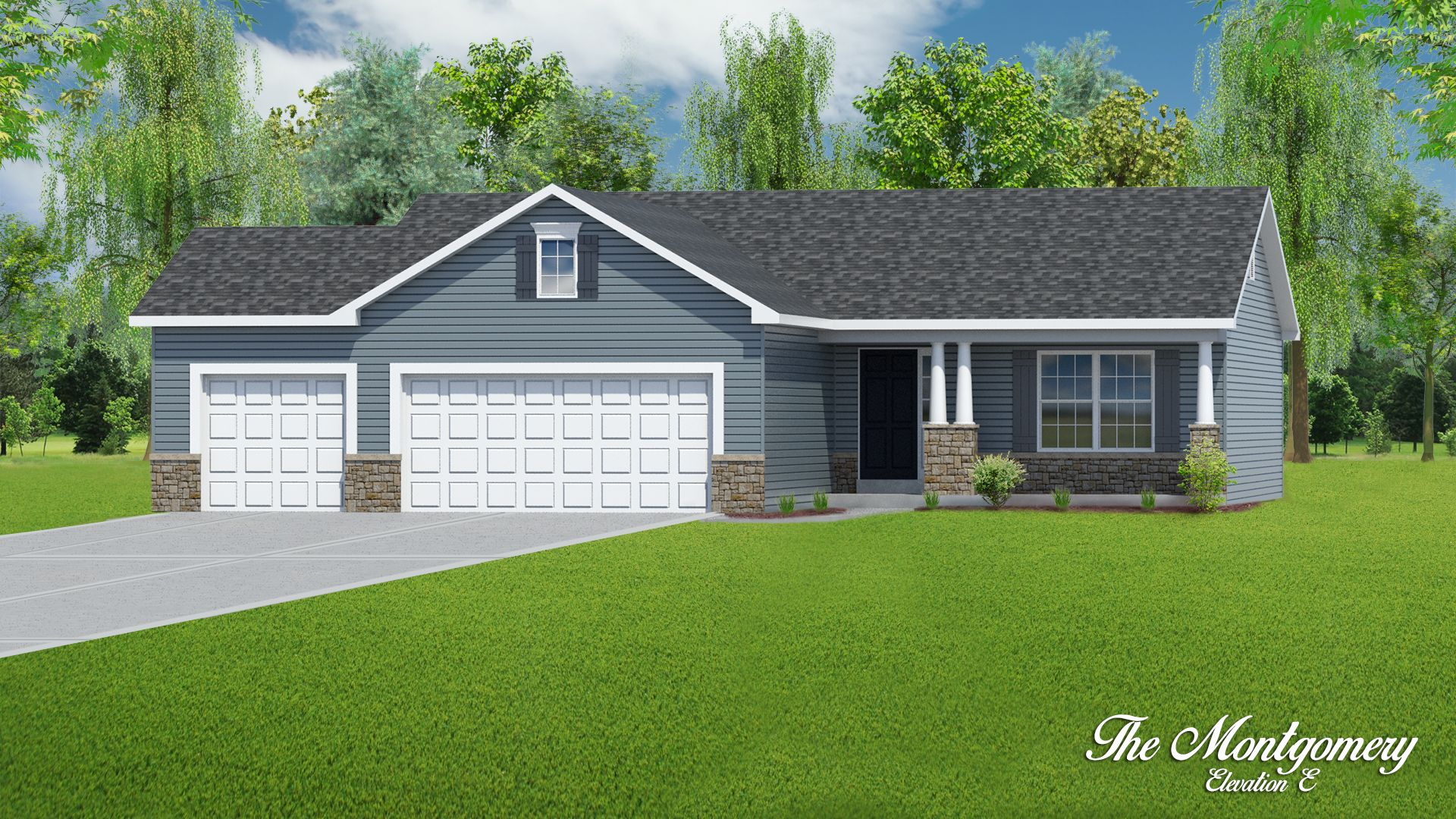 Exterior featured in The Montgomery - 3 Car Garage By T.R. Hughes Homes in St. Louis, MO