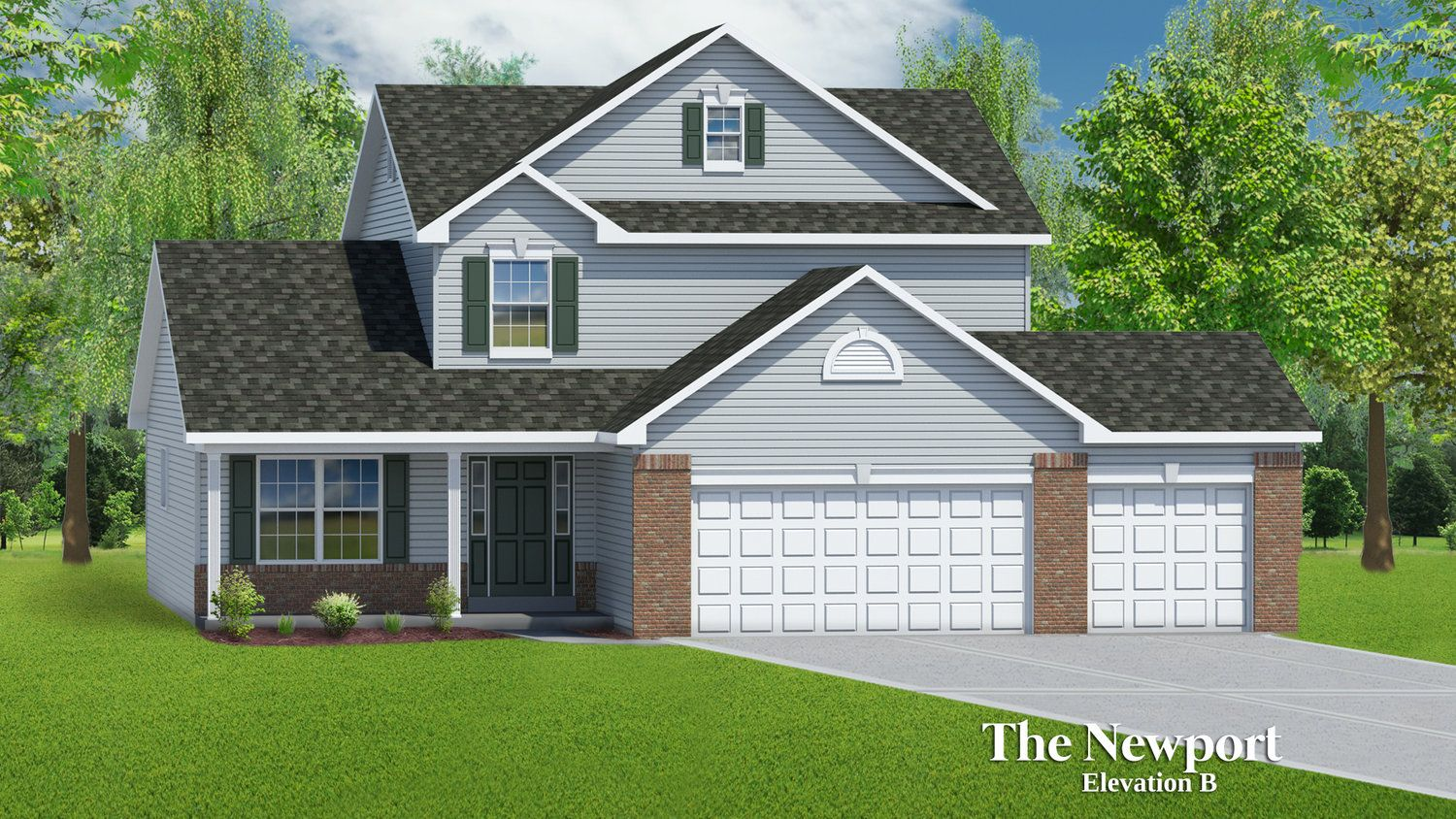 Exterior featured in The Newport - 3 Car Garage By T.R. Hughes Homes in St. Louis, MO