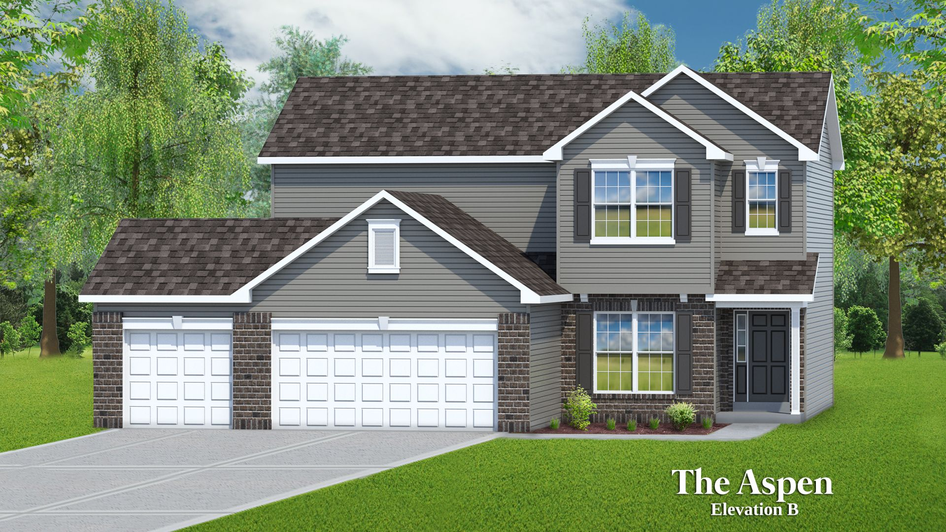 Exterior featured in The Aspen - 3 Car Garage By T.R. Hughes Homes in St. Louis, MO