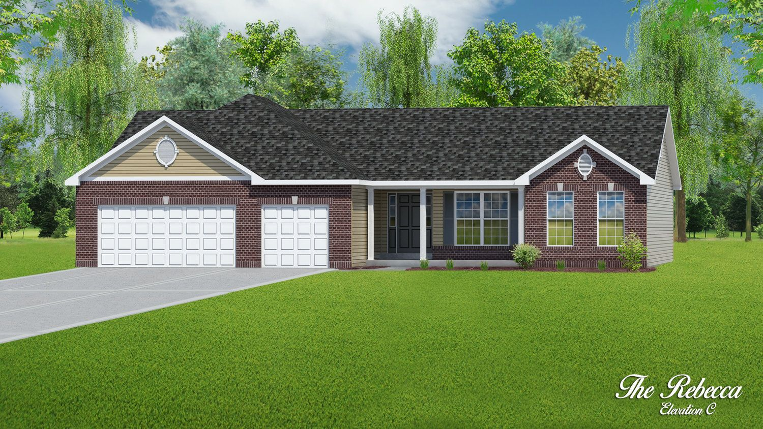 Exterior featured in The Rebecca - 3 Car Garage By T.R. Hughes Homes in St. Louis, MO