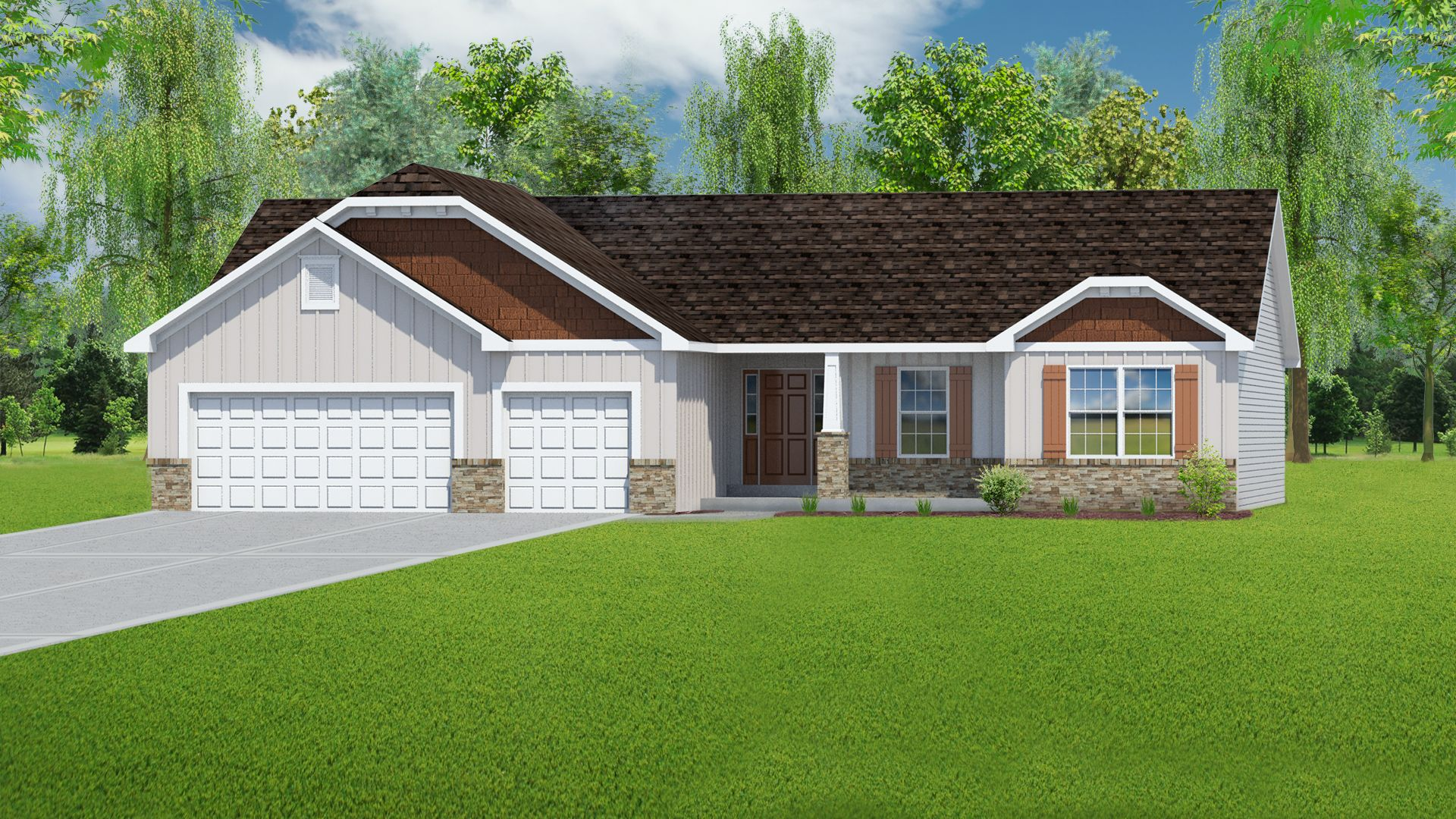Exterior featured in The Willow - 3 Car Garage By T.R. Hughes Homes in St. Louis, MO