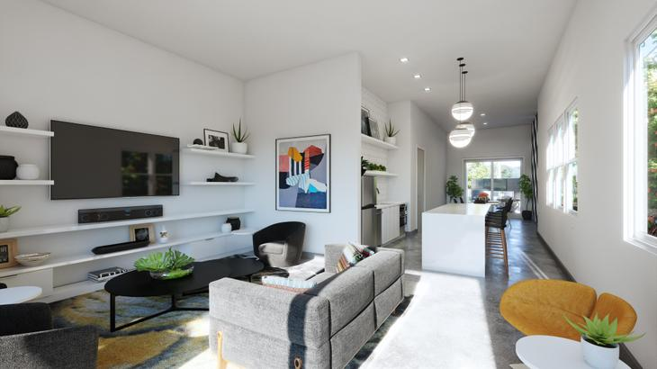 Social Lounge interior:Modern clubhouse with kitchen and media room for entertaining