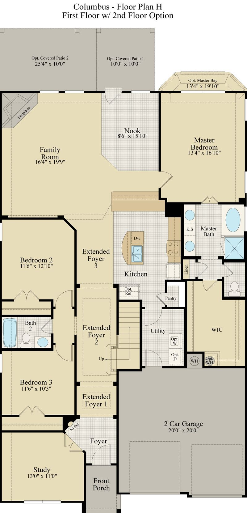 New Home Floor Plan (Columbus H) Available at John Houston Custom Homes