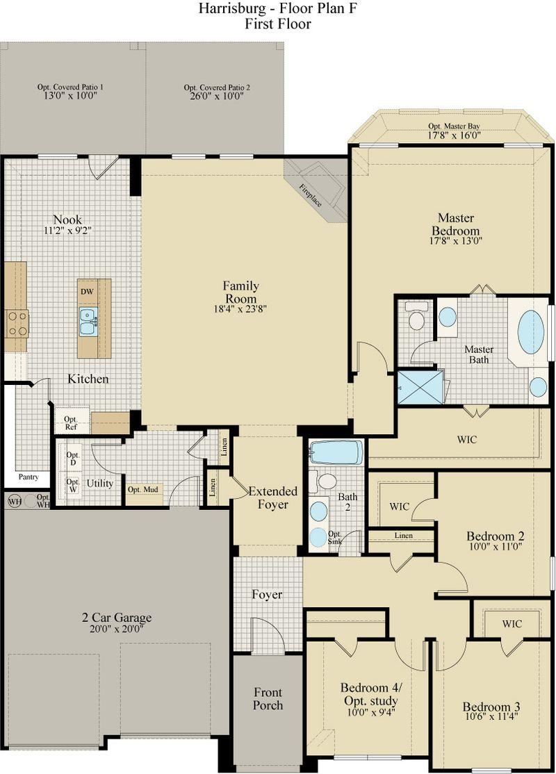 New Home Floor Plan (Harrisburg F) Available at John Houston Custom Homes
