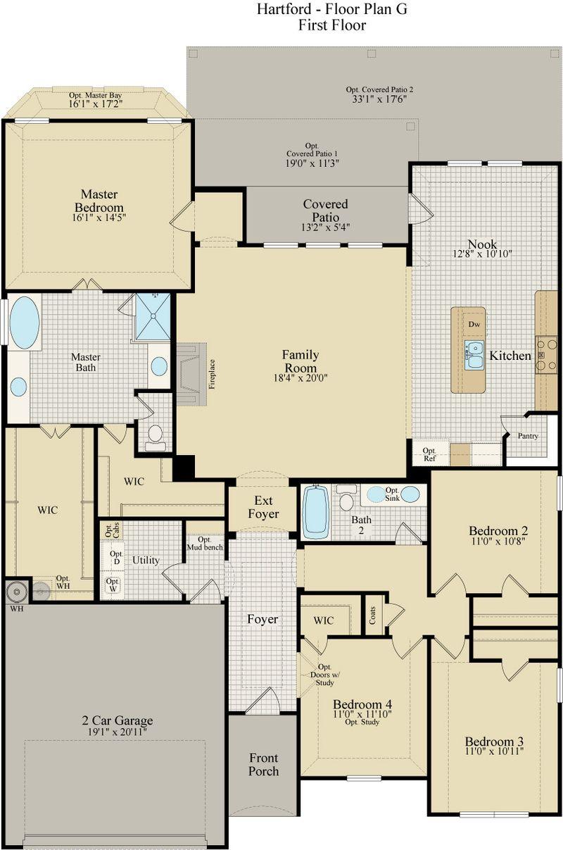 New Home Floor Plan (Hartford G) Available at John Houston Custom Homes