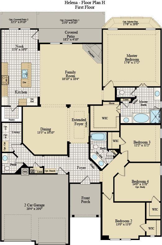 New Home Floor Plan (Helena H) Available at John Houston Custom Homes