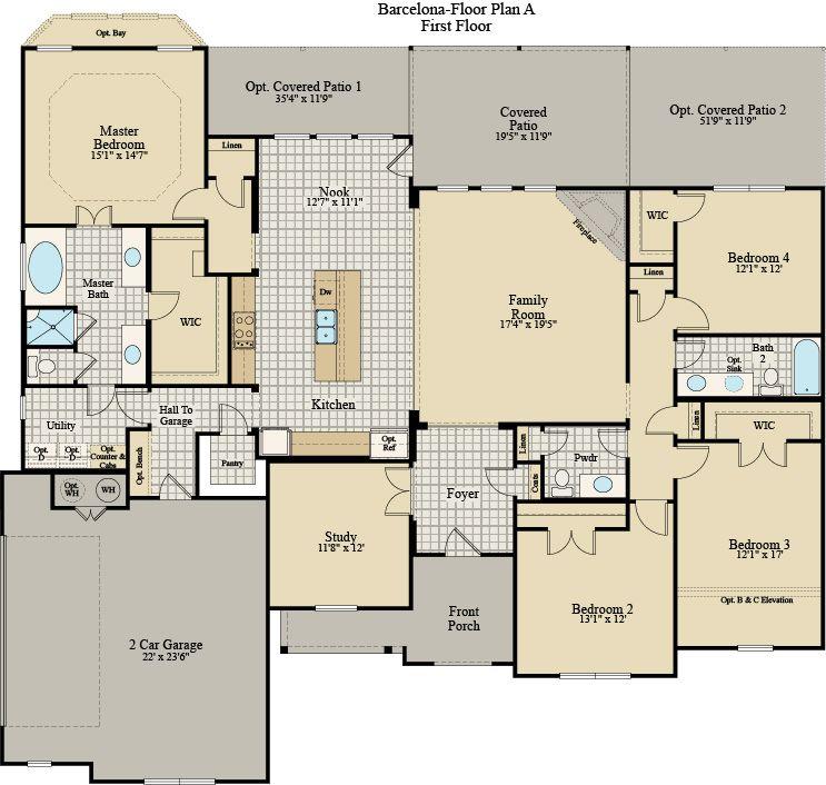 New Home Floor Plan (Barcelona A) Available at John Houston Custom Homes