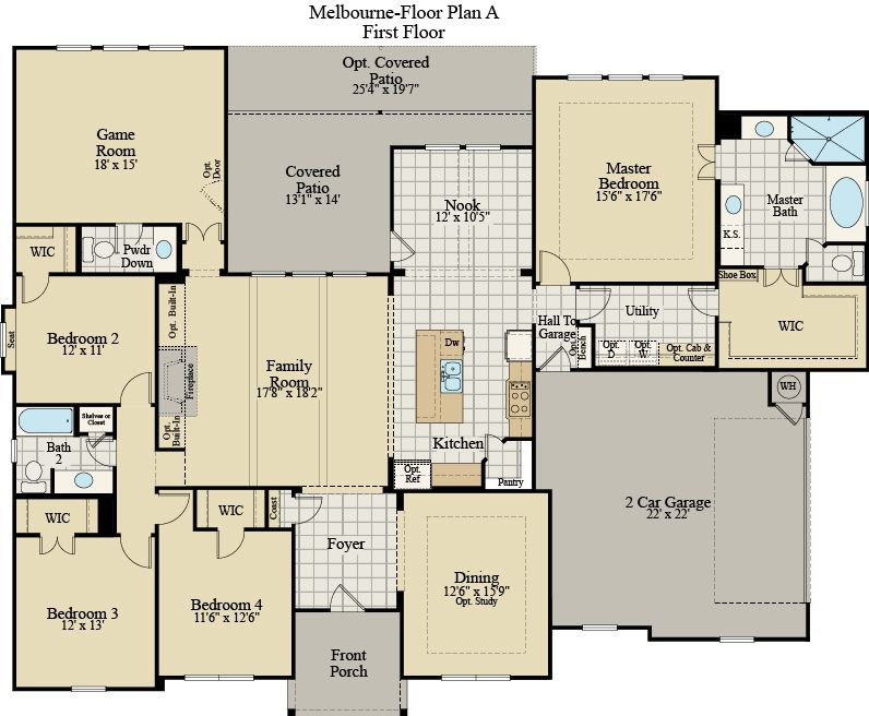 New Home Floor Plan (Melbourne A) Available at John Houston Custom Homes