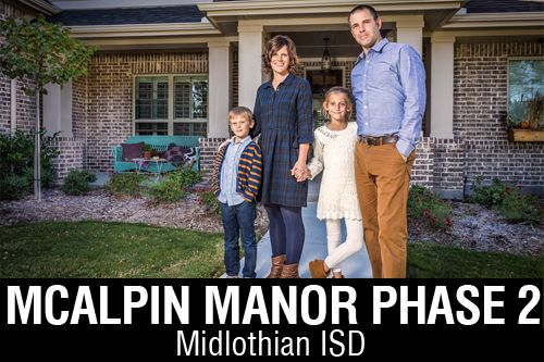 New Homes for Sale in McAlpin Manor   Midlothian, TX Home Builder