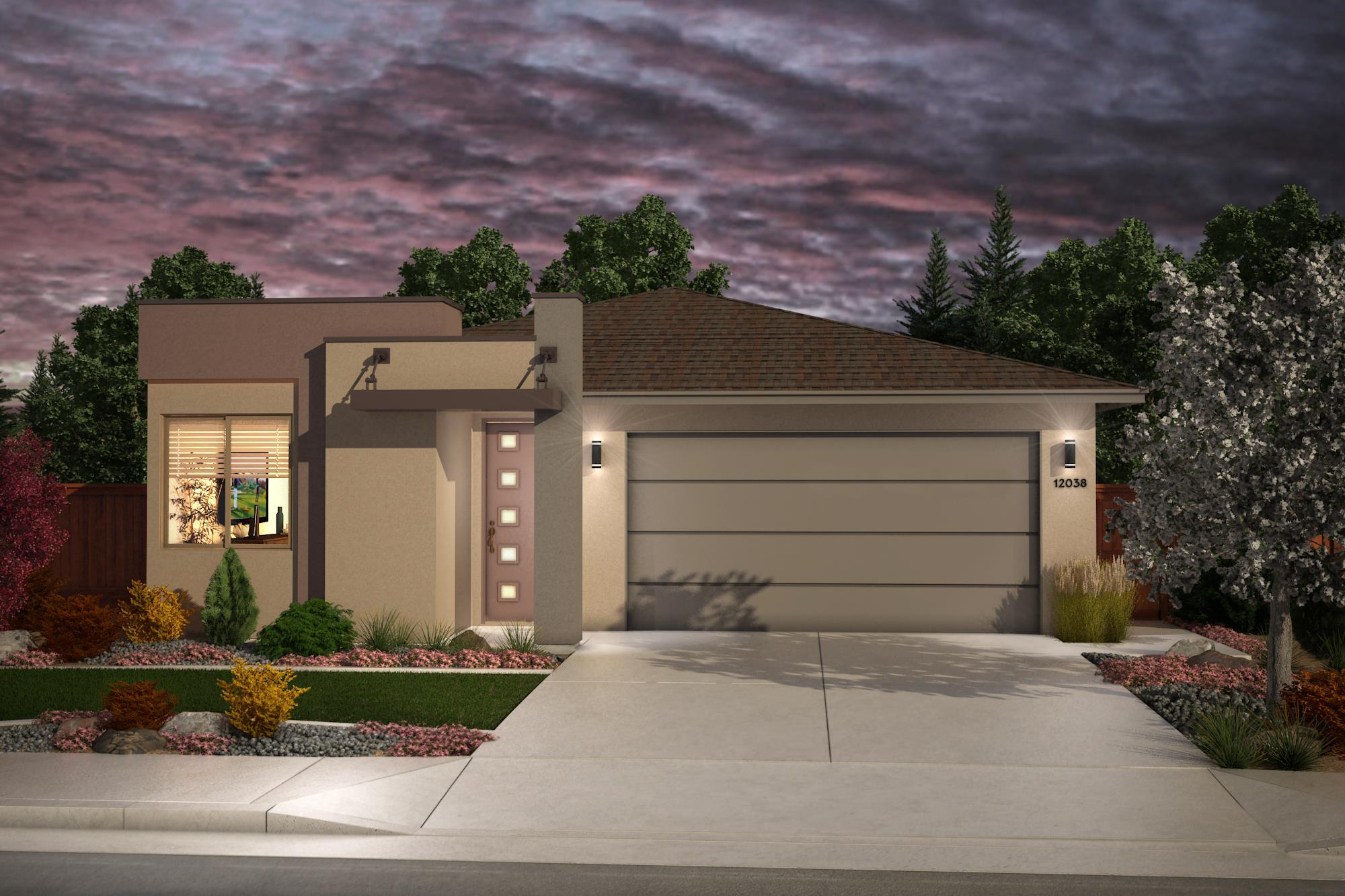 Exterior featured in the Plan 1- 1469 By Jenuane Communities in Reno, NV