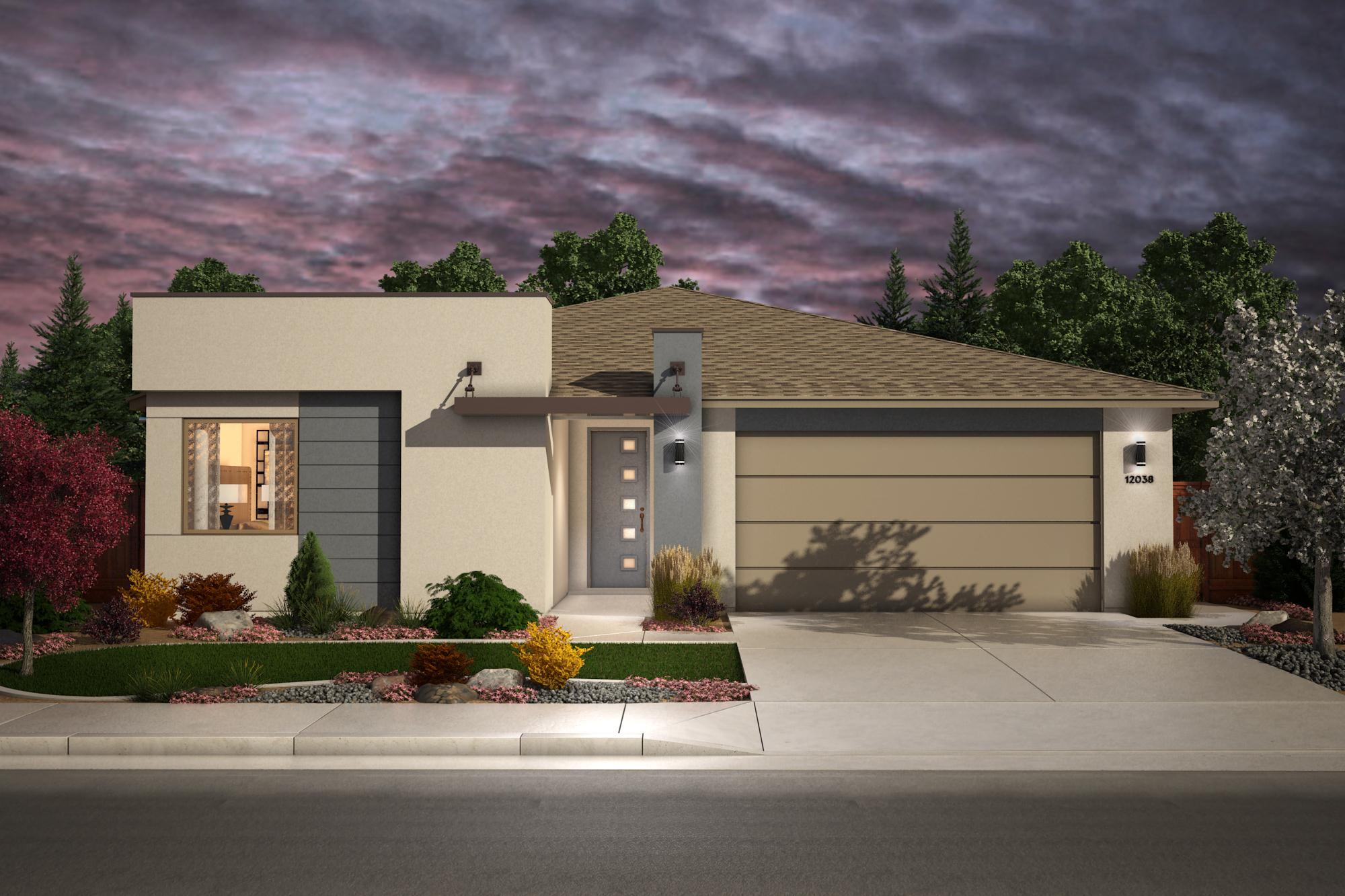Exterior featured in the Plan 3- 1739 By Jenuane Communities in Reno, NV