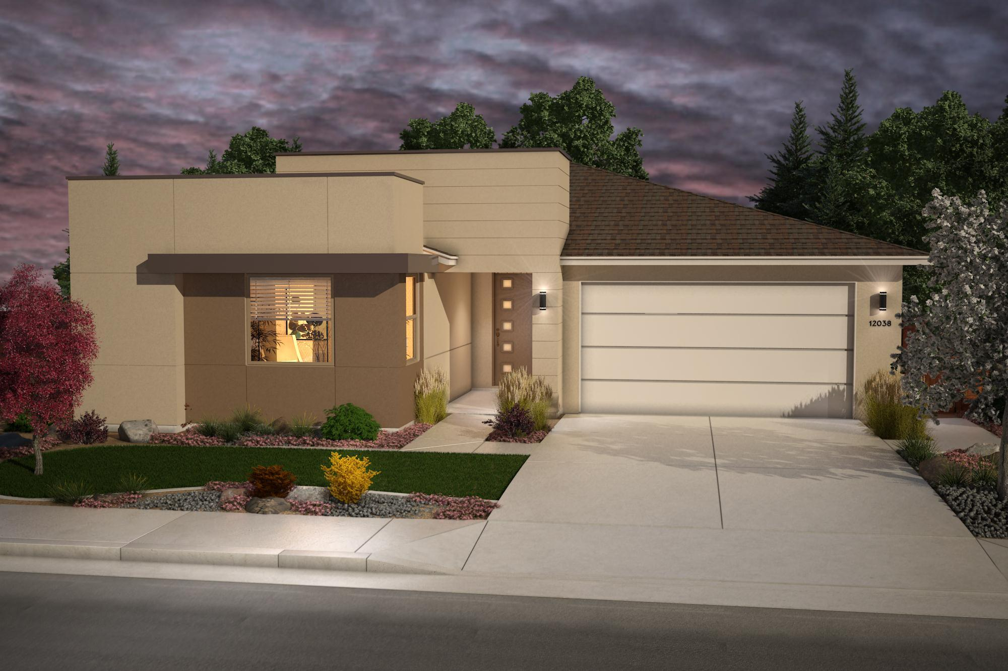 Exterior featured in the Plan 6- 2125 By Jenuane Communities in Reno, NV