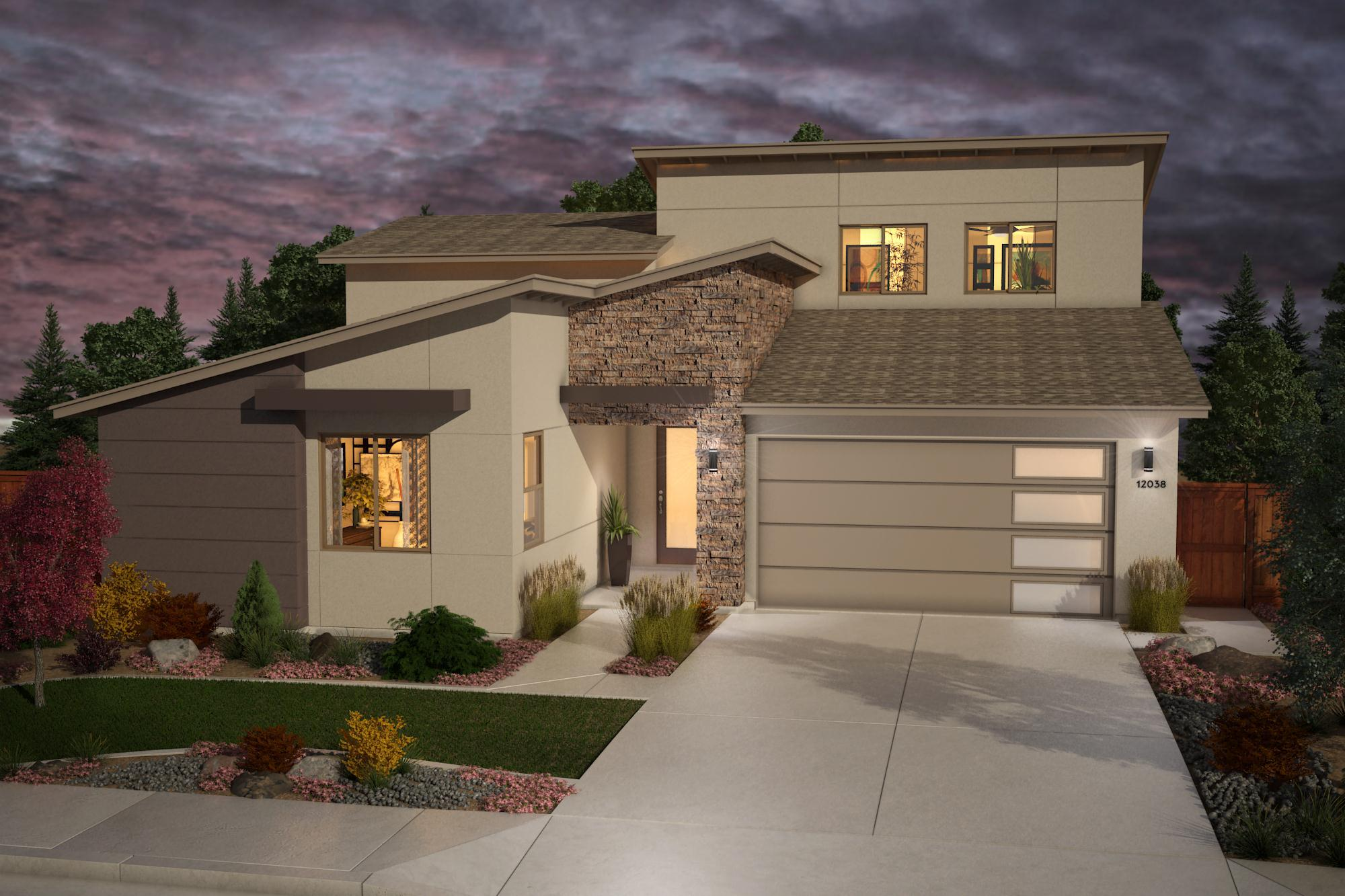 Exterior featured in the Plan 7- 3035 By Jenuane Communities in Reno, NV